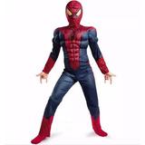 Fantasia Infantil Homem Aranha Com Musculos - 7 A 10 Anos