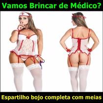 Médica Enfermeira Espartilho Bojo Lingerie Sensual Fantasia