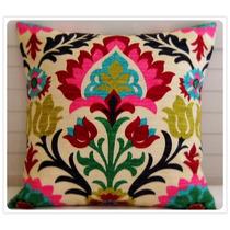 Almohadon 45 X 45 Aprox- Mexican Style Flor - Tela Importada