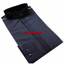 Camisa Masculina Gola De Padre Preta C/ Risca Prata
