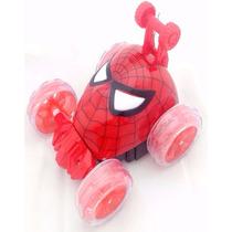 Carrinho Homem Aranha Controle Remoto Som E Led Giro 360