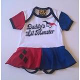 Body Saia Personagem Arlequina Para Bebês