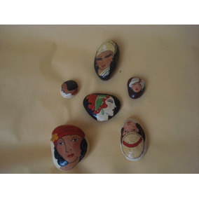 6 Pinturas Femeninas En Piedra Hermosa Obra De Arte