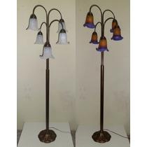 Abajur Pedestal Coluna Com Tulipa Murano Estilo Tiffany Pct5