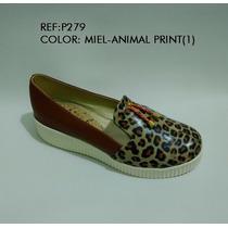 Baleta Zapato Calzado Mujer Miel Animalt Print Envío Grati