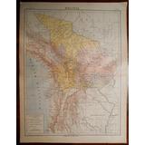 Mapa Antiguo De Bolivia Grabado Frances Poulmaire Circa 1900