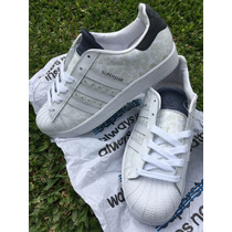Adidas Superstar Animal Print Blanca Y Gamuza Azul !!