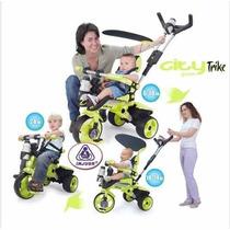 Triciclo Carreola Montable Con Techo Niños City Trike Verde
