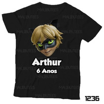 Camiseta Cat Noir Infantil Ladybug Miraculous Personalizada