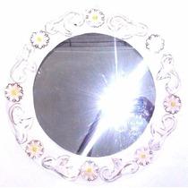 Espelho Com Moldura Em Madeira Rústica Patinada - 43cm