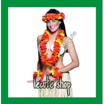 10 Set Collar Hawaiano Pulsera Fiesta Batucada Diadema Juego