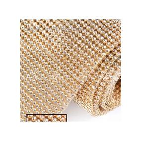 Manta De Strass 22x1,20 Dourada De 1º Linha Alto Brilho