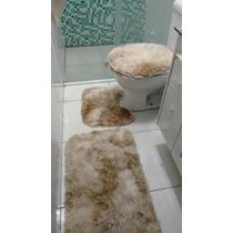 Jogo De Banheiro 3 Peças Peludo Felpudo Shaggy Luxo