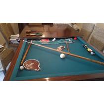 Mesa De Pool + Ping Pong + Comedor Madera Maciza Cerezo