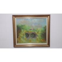Quadro Pintura Óleo Sobre Tela - Casa E Paisagens