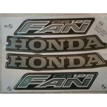 Kit Jogo Adesivo Faixa Moto 125 Fan 2008 Preta 818