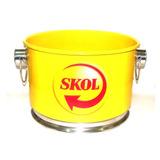 Balde Alumínio Para Gelo Cerveja Logo Skol 12 Litros Amarelo