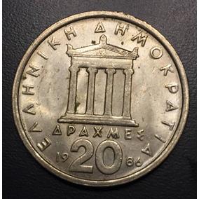Gre010 Moneda Grecia 20 Drachmas 1986 Xf-au Ayff