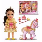 Boneca Princesa Bela Com Cavalo - Bela E Fera - Mimo
