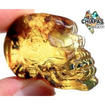 Exclusiva Escultura De Ámbar De Chiapas Cráneo En Relieve