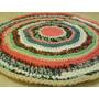Alfombra Multicolor De Totora Tejida Al Crochet 70cm.