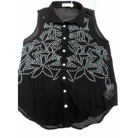 Camisa Camisola En Gasa Negra Con Tachitas Nueva Talle S