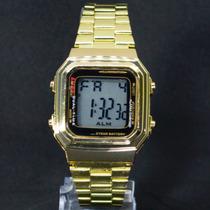 Relógio Feminino Quadrado Vintage Dourado Prata Aço