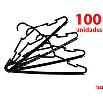 Cabides Atacado Plástico Preto 100 Peças Reforçado