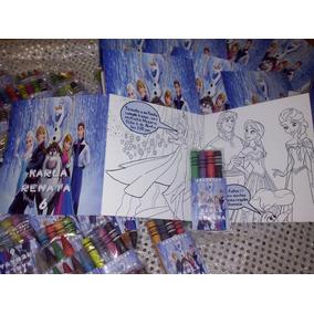 Invitacion Frozen Para Colorear Incluye 4 Crayolas