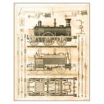 Lienzo Diagrama Locomotora Inglesa 1844 Grabado 66 X 50 Cm