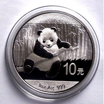 Moneda 2014 Panda 10 Yuan De China .999 Plata Pura 1 Oz Troy