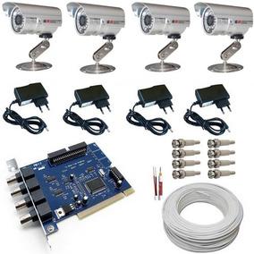 Kit Cftv 4 Câmeras Noturnas 30mts Completo- Placa Geovision