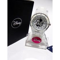 Mca.disney Reloj Mickey Mouse Dama Cristales Blanco.