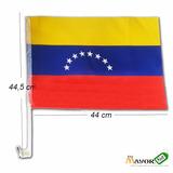 Banderas De Venezuela 44x44cm (docena) Con Mastil Para Carro