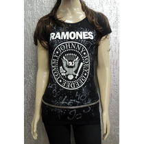 Camiseta Feminina De Banda - Ramones - Longuete Viscolycra