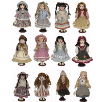 12 Bonecas De Porcelana Camponesas Coleção Completa 40 Cm