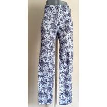 Pantalon Entubado Jeggins De Flores Azul Con Gris Stretch