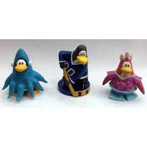 Kit 3 Bonecos Club Penguin Miniaturas 6 Cm