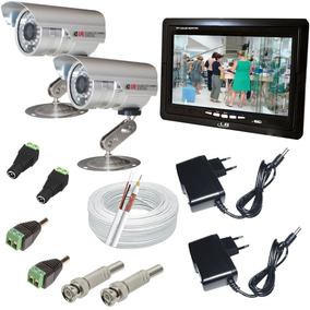 Kit 2 Camera Infravermelho Prova Dagua Com Monitor De 7