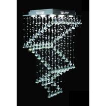 Lustre 1,80m Cristal Legítimo Quadrado Escada Base Inox 304