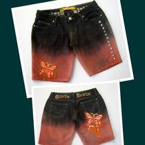 Short Bermuda Jeans 38 Bordada Customizada Artesanal A90
