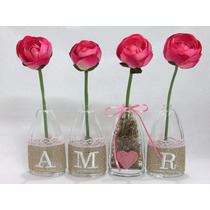 Arranjo De Flores Artificiais - Love Vasos De Vidro Rosa