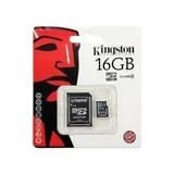 Memoria Microsd Micro + Sd Kingston 16gb + 1 Año De Garantia