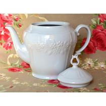 Impecable Tetera Porcelana Mozart Blanca Flores Relieve