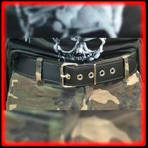 Cinturon Cuero Negro Liso Con Costura Cinto - Metal Heavy