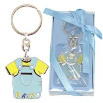 Chaveiro Lembrança Chá De Bebê Baby Boy Macacão Metal Azul