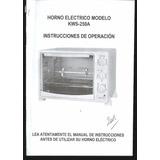 * Libro Manual Horno Electrico Top House Kws-250 A 4 Pag