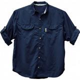 Camisa De Pesca Ballyhoo Crisis Cor Azul Filtro Uv Tam. Exg