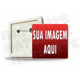 10 Botons Broches Quadrado Crachá Personalizado Foto Logo