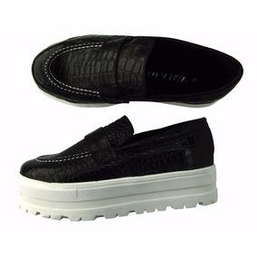 Mocasines Plataforma Cuero Crocco Comodos Zapato Cerrado